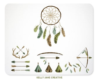 Antlers, Bows & Arrows, Feathers, DreamCatcher Clip Art, Backgrounds and Borders