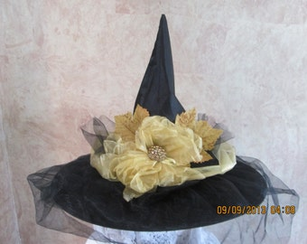 Deluxe Witch Hat - Black and Gold Witch Hat -  Fancy Witch Hat - Adult Witch Hat -