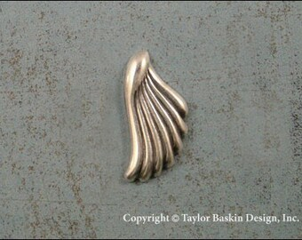 Antiqued Sterling Silver Plated Angel Wing or Earring Components (item 1418 AS) - 8 Pieces