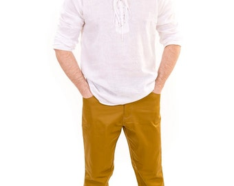 Mens gauze drawstring gauze shirt