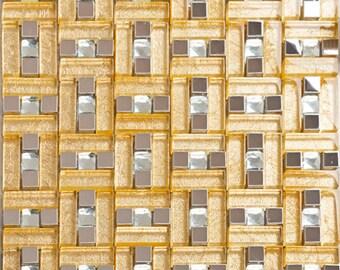 "Silver & Gold Metal Glass Tile Backsplash Wall Stainless Steel Mosaic Clear Crystal Tile Kitchen Grid Pattern (6 PCS, 11.8""x11.8"" /each)"