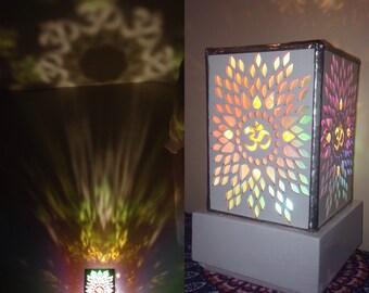 White Aum Lamp. Acrylic Lamp. Low Energy lighting. Desktop lamp. Bedside lamp. Modern lighting. Table lamp. Yoga Decor, Yoga,