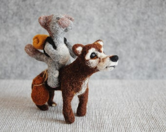 Big trip - Needle Felting Cat Dog Pet OOAK Art Doll Handmade Sculpture Kitty Miniature Wool Figurines Realistic Original