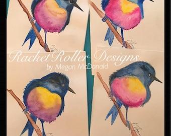 Bird in Watercolor, blank cards