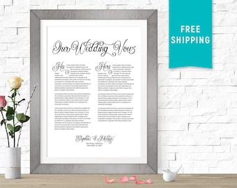 Customized Wedding Vows Print, His & Hers Wedding Vow Art, Gift, Personalized, Paper anniversary, 1 year anniversary gift, calligraphy gift