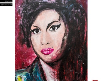 """Amy Winehouse pop art portrait (90x70cm) 35.4""""x27.6"""" Free Shipping- acrylic painting ready to hang, hand painting by Carlos Pun"""