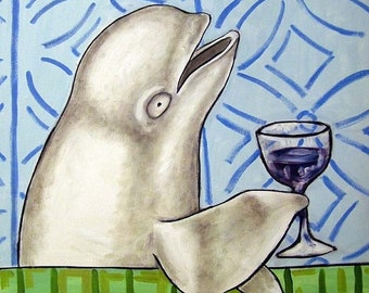 25% off Beluga Whale at the Wine Bar Art Tile Coaster