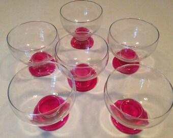 vintage glass coupe bowls, modern dessert bowls, dessert bowls, glass bowls, pink bowls, fruit bowls, sherbet bowls, fruit cups,