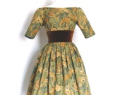 Autumn Dress- Leaf Print Audrey Style Prom Dress with Sleeves and Velvet Waistband- by Dig For Victory