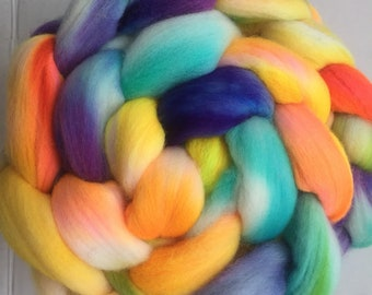Merino combed top roving hand dyed spinning felting fiber indie dyed 4oz, 'Spring Flowers'
