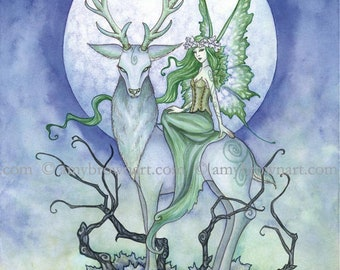 5x7 Twilight fairy and stag PRINT by Amy Brown