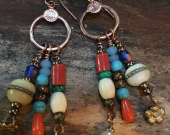 Boho Vintage brass findings with multistone dangle earrings dream catcher Three strand