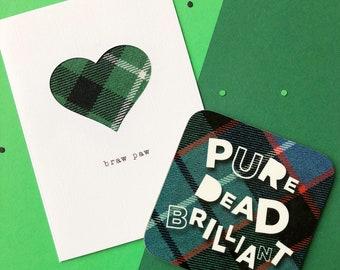 Scottish Father's Day Card & Coaster - Father's Day Card - Scottish Tartan Card - Made In Scotland - Braw Paw - Pure Dead Brilliant
