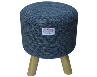 Harris Tweed Grey & Sea Green Herringbone Hand Covered Footstool