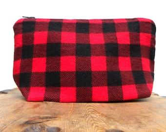 Buffalo Plaid Zipper Pouch Bag - Zipper Pencil Case - Make Up Bag - Makeup Pouch - Cosmetic Pouch - Red Purse Insert - Pencil Pouch