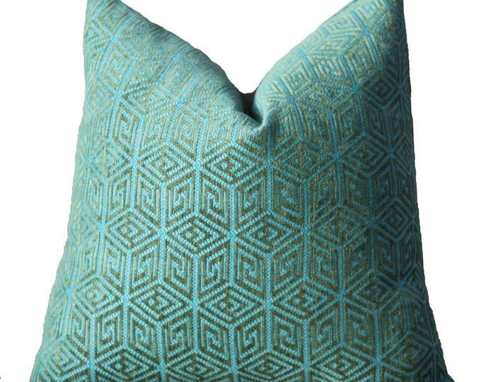 Schumacher Pillow Cover - Teal Blue Green Geometric Pillow - Greek Key Pillow Cover - Throw Pillow - Bohemian Decor - Mid Century