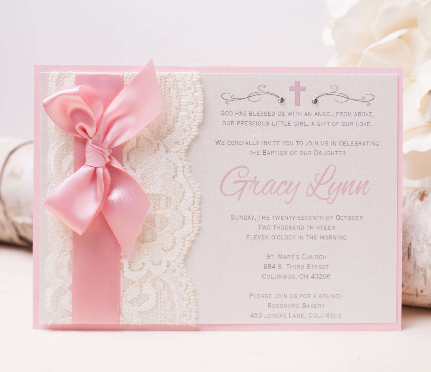 20 off gracy lace invitation pink baptism invitation zoom filmwisefo Image collections
