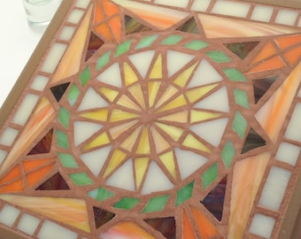 Mandala Trivet or Hang on a Wall, Orange Star Design, Stained Glass Mosaic Art, Small Square Functional Decor