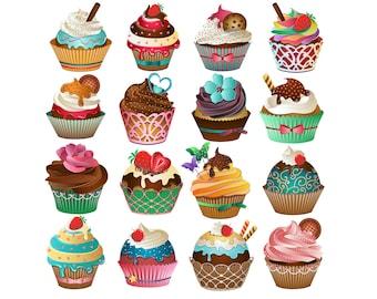 Magdalena Linda imágenes prediseñadas - Set de 16 PNG, JPG y vectores Cupcakes