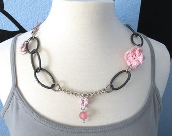 "Fiberpunk™ Necklace - Pink - Long 13"" / Fiber Jewelry / Crochet Jewelry / Tatted Jewelry"