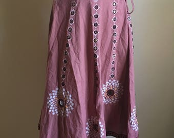Vintage Indian Cotton Drawstring Skirt with Hand Painted and Stitched details S to M