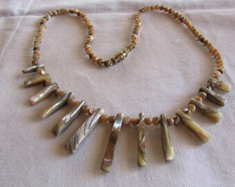Abalone Spikes and Beads Necklace 19 5/8""