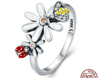 Genuine 925 Sterling Silver Cubic Zircon Crystal Lady Bug & Bee Flower Ring