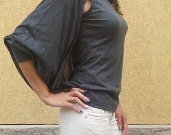 gray ladies blouse / Women Tank Top / Bolero sleeve 3-4 /