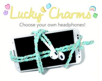 iPhone 8 Earpods | Wrapped Tangle Free Earbuds | Kawaii Rainbow Mint Lucky Charm Headphones | Skullcandy Sony Earphones | Teen Girl Gift