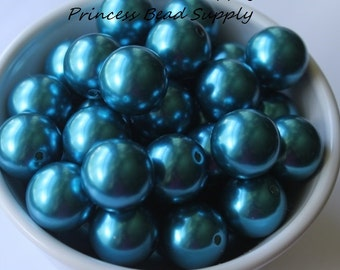 20mm Teal Pearl Chunky Beads Set of 10,  Bubble Gum Beads, Gumball Beads, Acrylic Beads