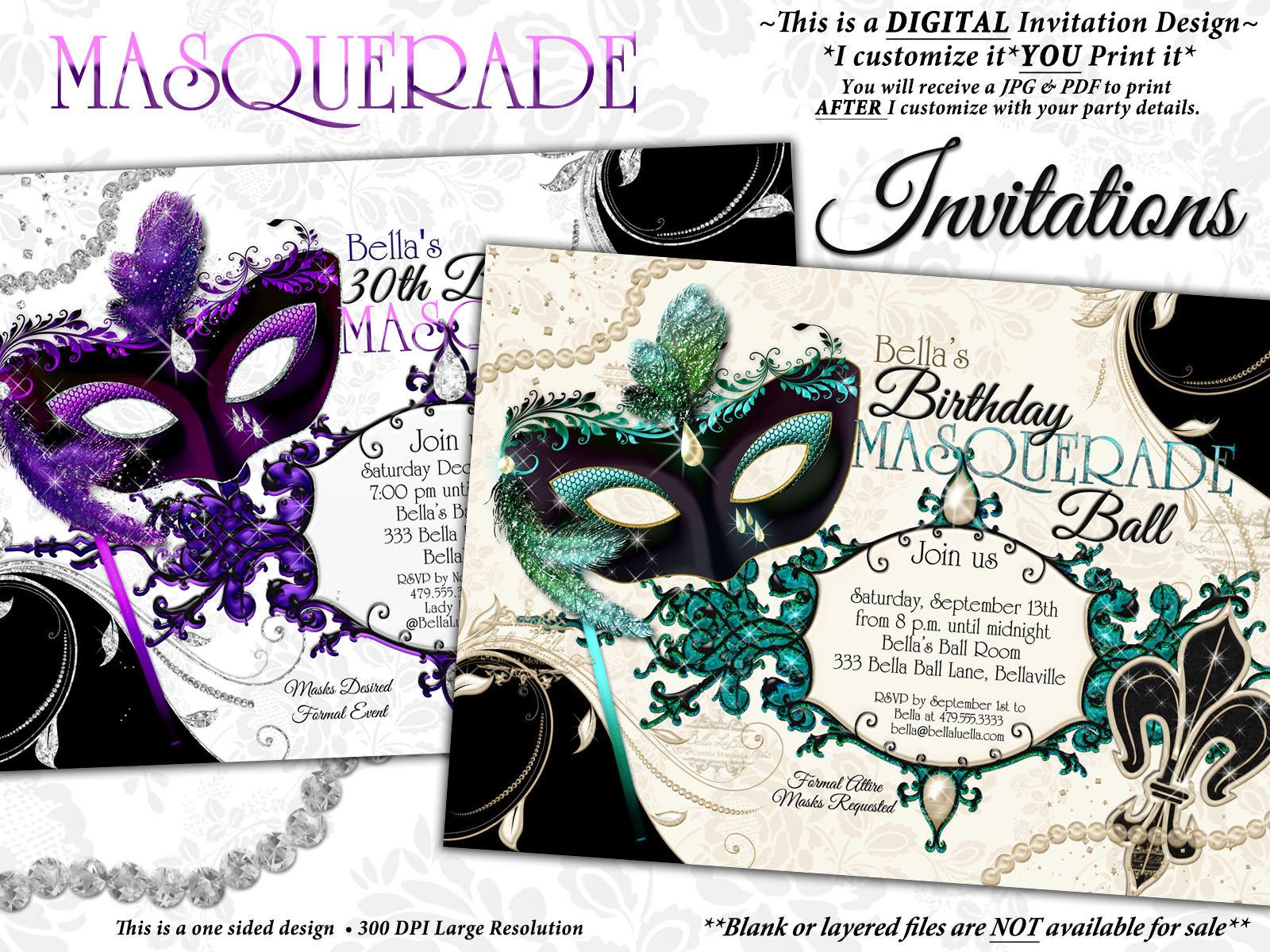 Masquerade Party Invitation Mardi Gras Party Venetian Mask