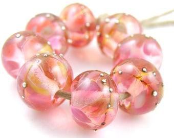 Juicy Gems SRA Lampwork Handmade Artisan Glass Donut/Round Beads Made to Order Set of 8 8x12mm