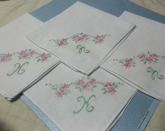 Set of 4,Bridesmaid gifts, wedding handkerchief, bridesmaid hankie, hand embroidered, personalized hanky,custom color
