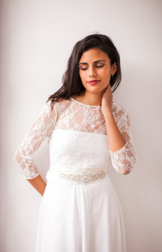 Short Wedding Dress With Sleeves Lace Reception White Long Sleeve Civil Bridal Gown