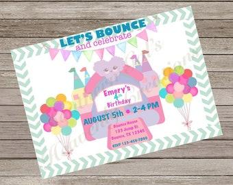 Bounce house birthday party invitation, spacewalk party invitations, bouncehouse birthday,bounce house party, bounce house party invitations