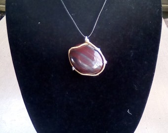Wire Wrapped Tiger Iron Necklace