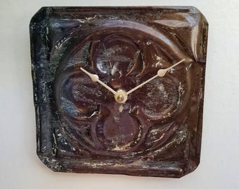 Salvaged  ceiling tin tile clock unique wall decor modern pebbled look