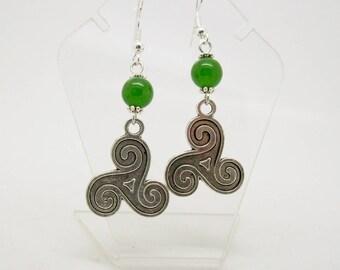 Triskele Earrings - Triskelion Earrings - Green Jade Earrings - 925 Silver Ear wires - Triskelion Jewelry - Triskele - Celtic - Irish