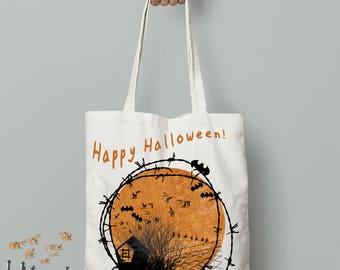 halloween tote bag, happy halloween, tote bag canvas, gift for halloween, Reusable Bag, halloween decor, printed bags, personalized tote bag
