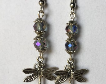 dragonfly earrings, pewter charms, faceted beads, silver dangle earrings