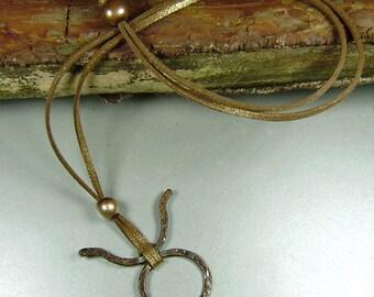 Horn God Pendant, Wicca Pendant, Symbol of protection, Copper Horn God , Wicca Necklace, Copper Necklace, Symbol of Life,  Love spell,