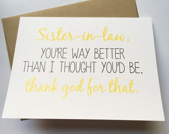 Funny in law card etsy sister in law card sister birthday card funny sister card card for sister bookmarktalkfo Choice Image