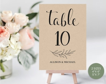 Kraft Wedding Table Numbers, Printable Table Numbers, Rustic Table Numbers, DIY Table Numbers Editable, 4x6, 5x7, PDF Instant Download WD211