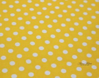 Japanese Fabric | Japanese Cotton Fabric | COSMO TEXTILE | White Polka Dot lining fabrics - Yellow