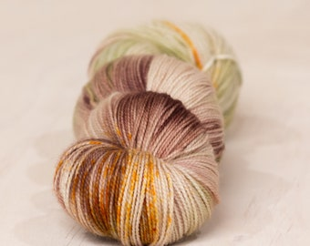 Camo // 4 ply yarn, fingering yarn, super wash yarn, sock yarn, indie dyed yarn, hand dyed yarn, brown yarn, green yarn, variegated yarn