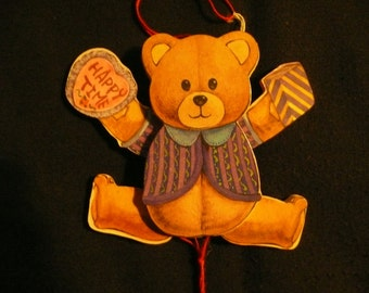 Wood Bear Ornament With Movable Parts