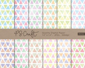 Watercolor Triangle Digital Papers, Triangle Background in Two Tone Colors, Triangle Papers,