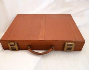 Mens leather briefcase Attache case Hard shell handbag Tan Business bag Document Carry on Srurdy Travel Laptop hardshell Old Large portfolio