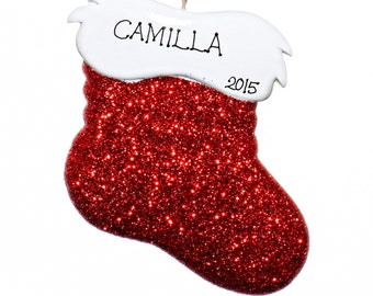 Glitter Stocking Personalized Ornament-Comes with Free Gift Bag