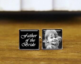 Father Of The Bride Cufflinks, Custom Wedding Cufflinks, Custom Date Or Photo Cufflinks & Tie Clip, Square Cufflink, Custom Fonts Or Colours